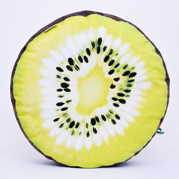 Okrągła poduszka dekoracyjna z motywem kiwi