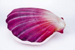 Poduszka dekoracyjna w kształcie muszli w kolorze czerownym
